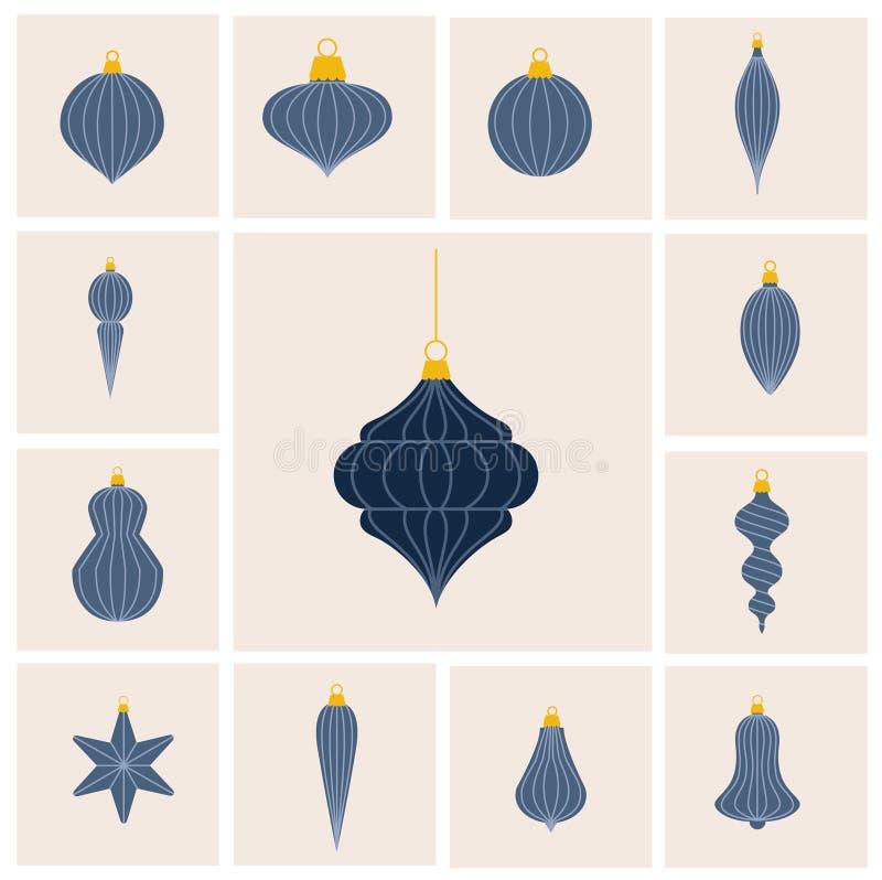 Επίπεδα ευθυγραμμισμένα σχέδιο μπιχλιμπίδια Χριστουγέννων καθορισμένα διανυσματική απεικόνιση