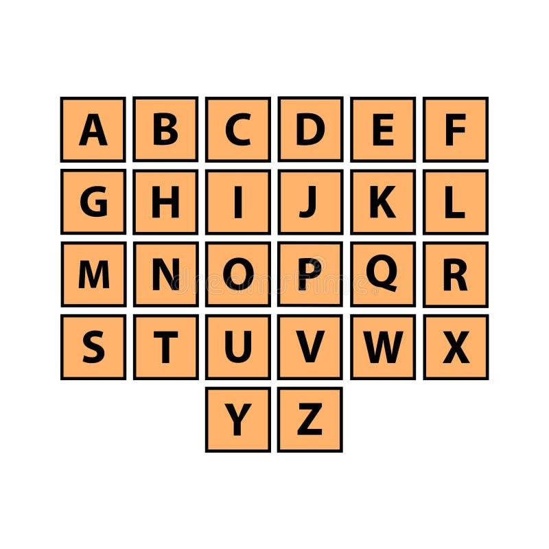 Επίπεδα κεραμίδια αλφάβητου καθορισμένα Κάθε επιστολή ελεύθερη απεικόνιση δικαιώματος