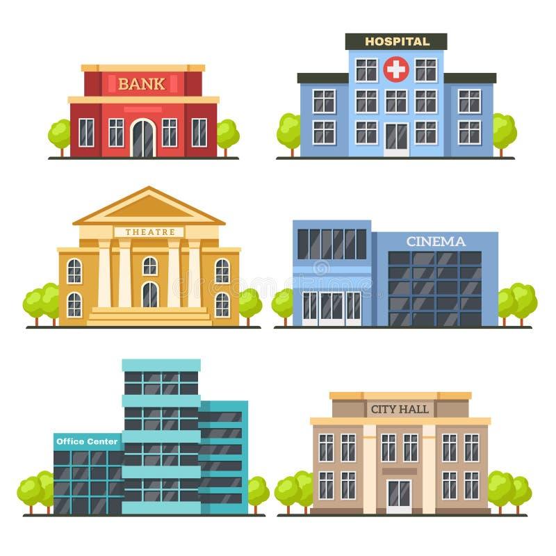 Επίπεδα κτήρια πόλεων Σύγχρονο κέντρο γραφείων, πρόσοψη νοσοκομείων και κτήριο αιθουσών πόλεων Σύγχρονοι θέατρο και κινηματογράφο απεικόνιση αποθεμάτων