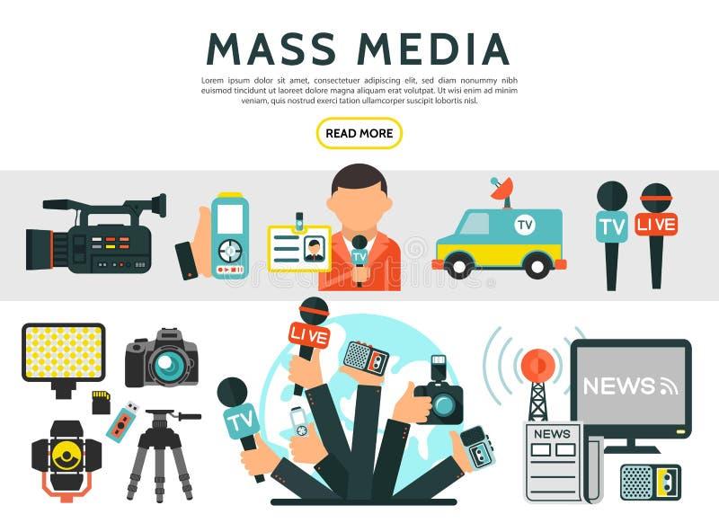 Επίπεδα στοιχεία Μέσων Μαζικής Επικοινωνίας καθορισμένα διανυσματική απεικόνιση