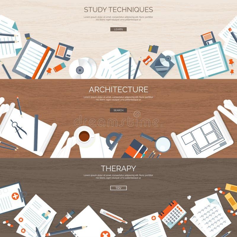 Επίπεδα υπόβαθρα καθορισμένα Σε απευθείας σύνδεση εκπαίδευση μελέτης Σειρές μαθημάτων Ιστού Ε-εκμάθηση Σχέδιο αρχιτεκτονικής θερα διανυσματική απεικόνιση