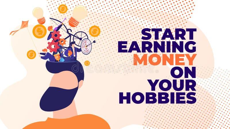 Επίπεδα χρήματα απόκτησης έναρξης εμβλημάτων στα χόμπι σας διανυσματική απεικόνιση