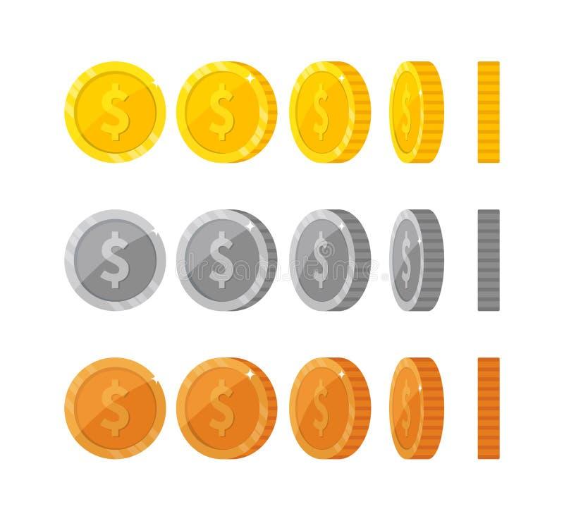 Επίπεδα χρυσά και ασημένια νομίσματα κινούμενων σχεδίων με το symbo δολαρίων απεικόνιση αποθεμάτων