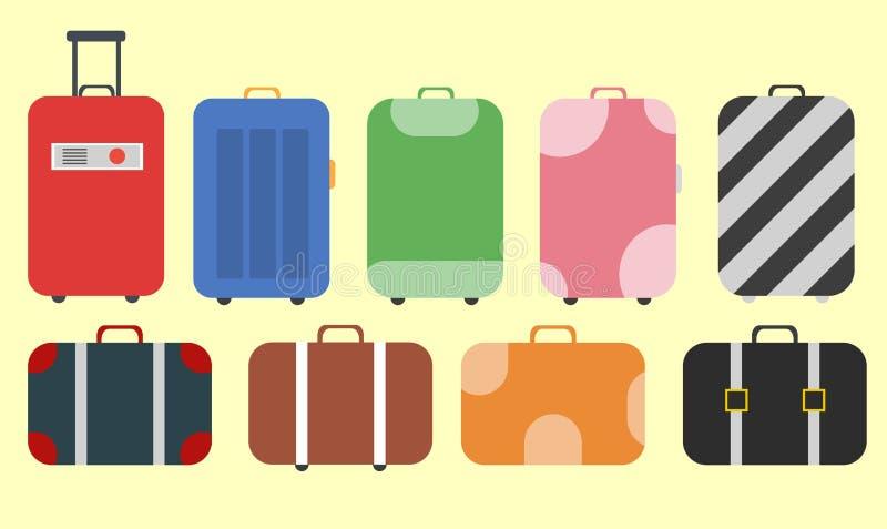 Επίπεδες αποσκευές και βαλίτσα ταξιδιού απεικόνιση αποθεμάτων