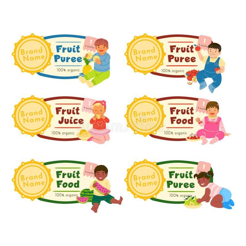 Επίπεδες διανυσματικές απεικονίσεις ετικετών τροφίμων φρούτων καθορισμένες απεικόνιση αποθεμάτων