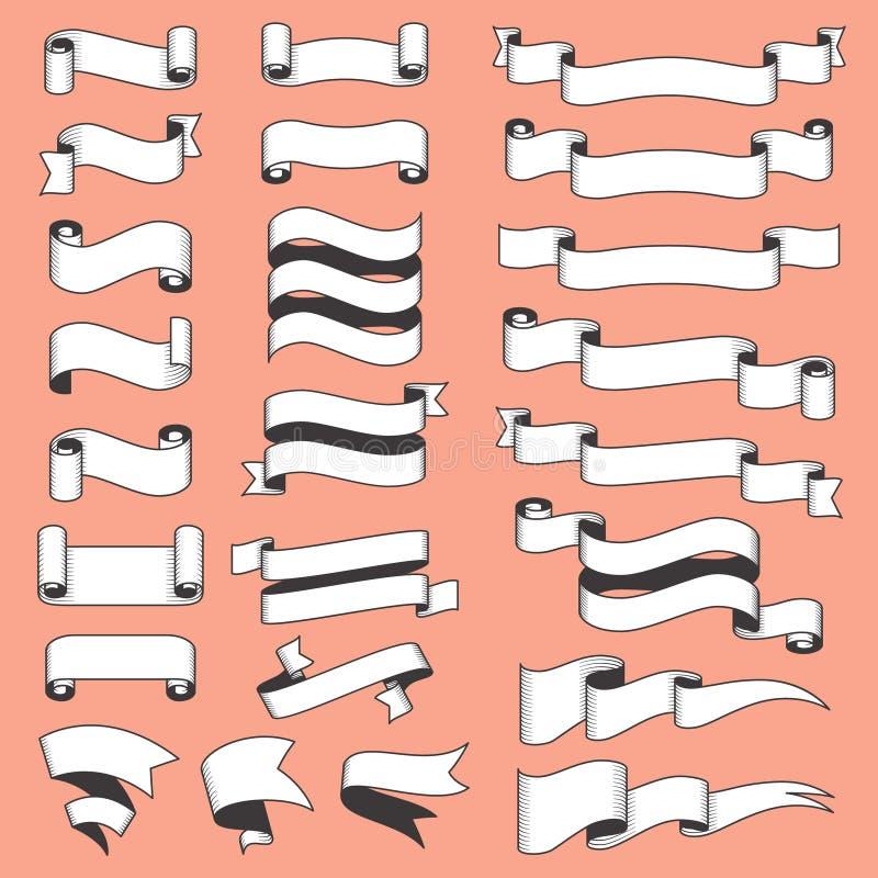 Επίπεδες εκλεκτής ποιότητας κορδέλλες Αναδρομικό χαραγμένο έμβλημα με τη γραπτή κορδέλλα Παλαιό διανυσματικό σύνολο εμβλημάτων ύφ απεικόνιση αποθεμάτων