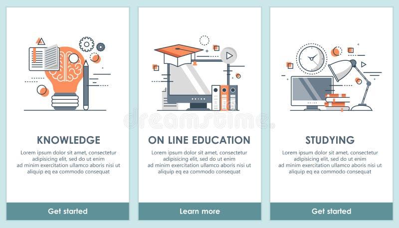 Επίπεδες εκπαιδευτικές app σχεδίου οθόνες Σύγχρονο ενδιάμεσο με τον χρήστη UX, πρότυπο οθόνης UI για το κινητό έξυπνο τηλέφωνο ή  διανυσματική απεικόνιση