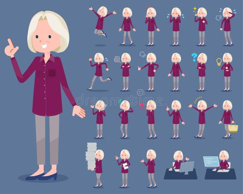 Επίπεδες ηλικιωμένες γυναίκες White_1 πουκάμισων τύπων πορφυρές ελεύθερη απεικόνιση δικαιώματος