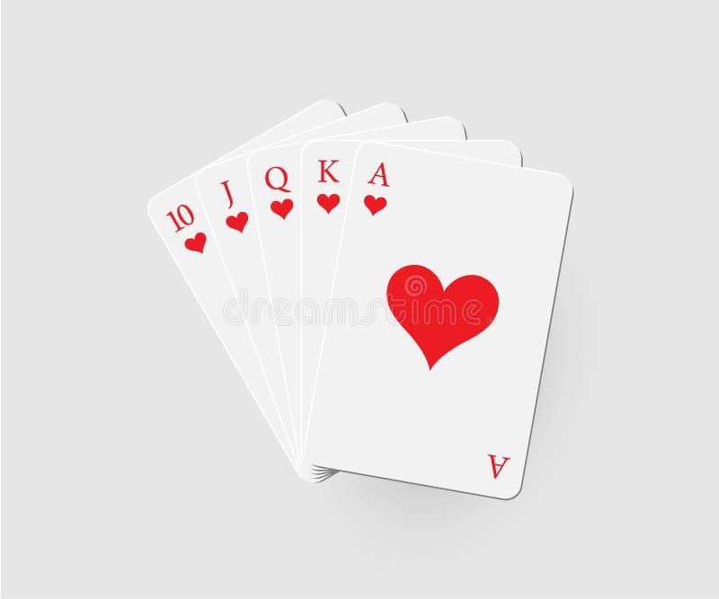 επίπεδες καρδιές βασιλ&i Διανυσματικός συνδυασμός πόκερ που απομονώνεται στο γκρίζο υπόβαθρο διανυσματική απεικόνιση