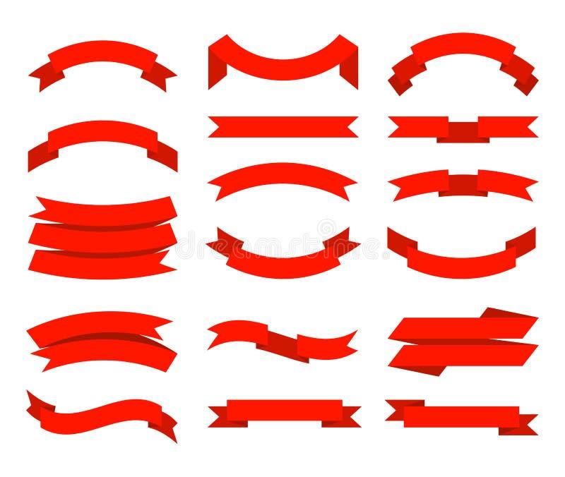 Επίπεδες κορδέλες Banner tape collection premium red ribbons, διαφορετική συλλογή διανυσμάτων σχημάτων ελεύθερη απεικόνιση δικαιώματος