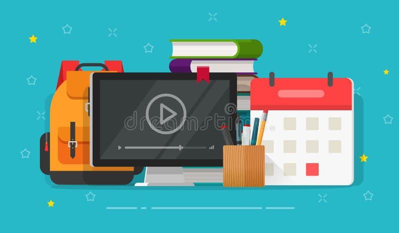 Επίπεδες σειρές μαθημάτων Ιστού κινούμενων σχεδίων σε απευθείας σύνδεση ή τηλεοπτική μελέτη με webinar στη οθόνη υπολογιστή στον  διανυσματική απεικόνιση
