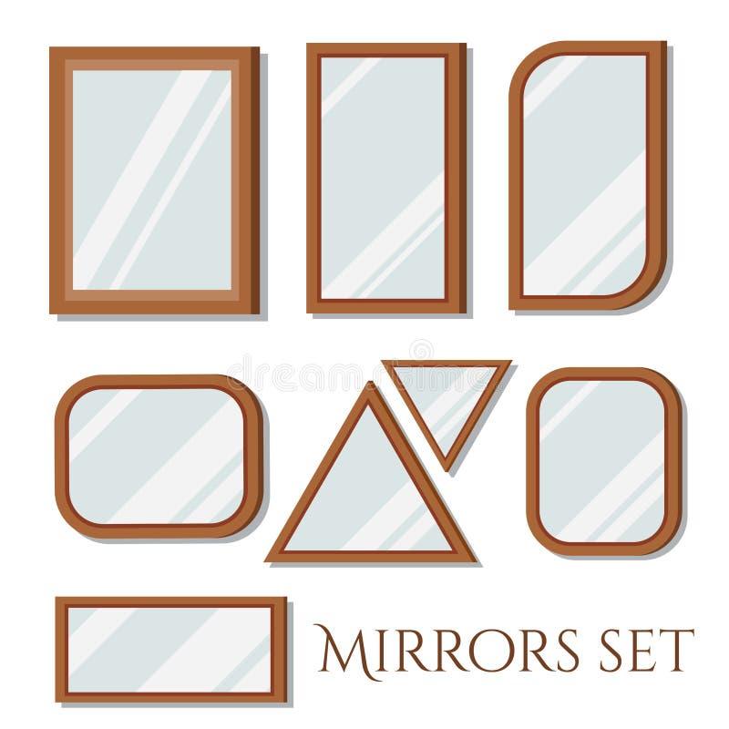 Επίπεδες σχεδίου ορθογώνιες και τριγωνικές μορφές καθρεφτών πλαισίων τοίχων ξύλινες καθορισμένες απεικόνιση αποθεμάτων