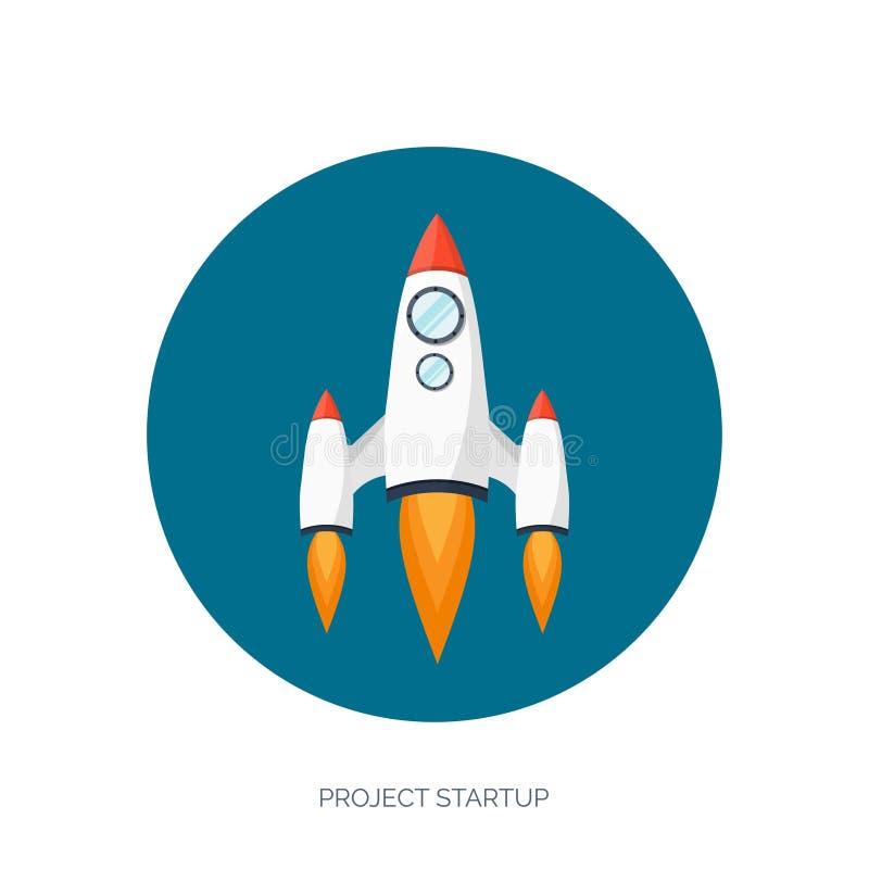 Επίπεδη έναρξη διαστημοπλοίων πυραύλων Έννοια ξεκινήματος και ανάπτυξη προγράμματος Εξερεύνηση του διαστήματος διανυσματική απεικόνιση