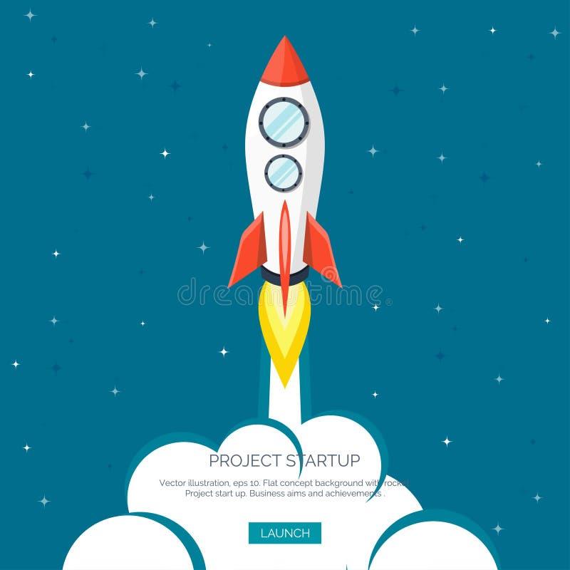Επίπεδη έναρξη διαστημοπλοίων πυραύλων Έννοια ξεκινήματος και ανάπτυξη προγράμματος Εξερεύνηση του διαστήματος απεικόνιση αποθεμάτων
