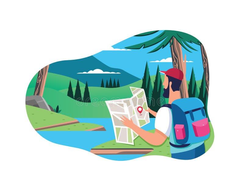 Επίπεδη έννοια ανθρώπων με το ταξίδι εξοπλισμού στο υπόβαθρο δασών και ποταμών με το όμορφο τοπίο διανυσματική απεικόνιση