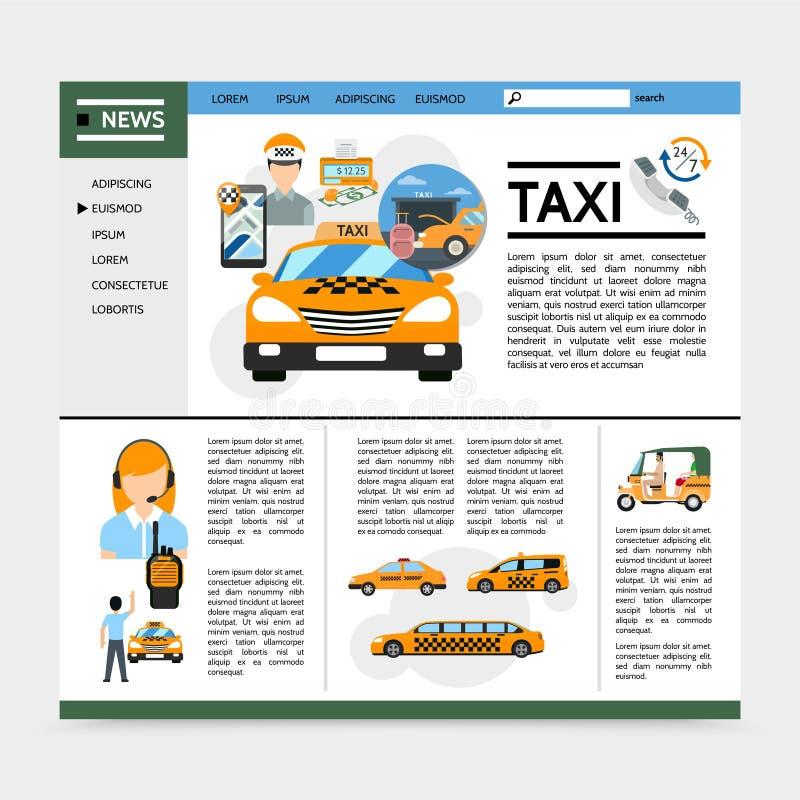 Επίπεδη έννοια ιστοχώρου υπηρεσιών ταξί ελεύθερη απεικόνιση δικαιώματος