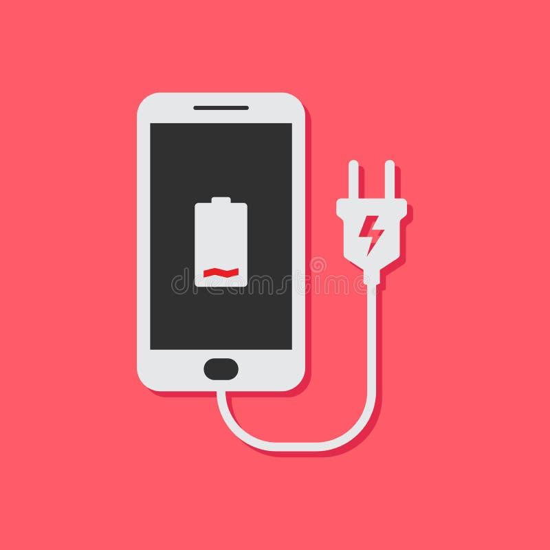 Επίπεδη έννοια σχεδίου για την επαναφόρτιση η κινητή τηλεφωνική μπαταρία διανυσματική απεικόνιση