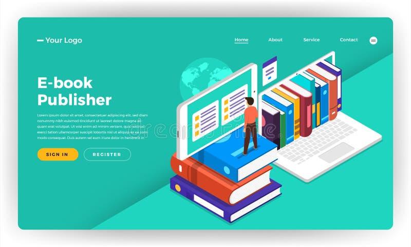Επίπεδη έννοια σχεδίου ιστοχώρου σχεδίου προτύπων EBook, ε-εκμάθηση, δ απεικόνιση αποθεμάτων