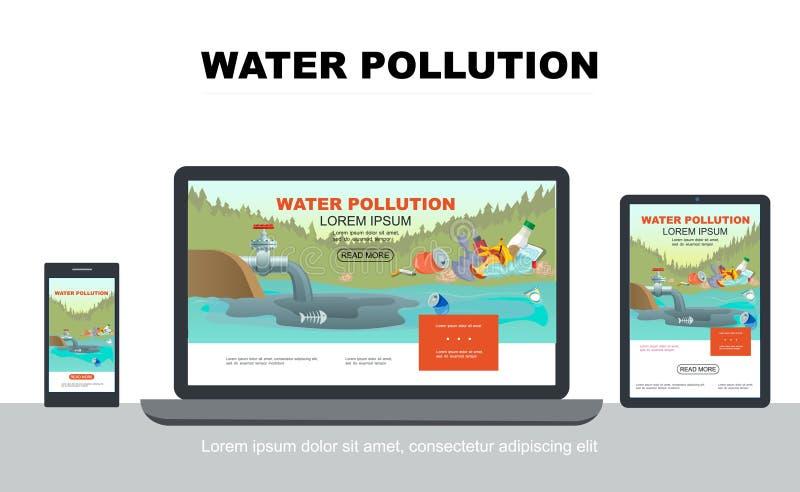 Επίπεδη έννοια σχεδίου ρύπανσης των υδάτων προσαρμοστική διανυσματική απεικόνιση