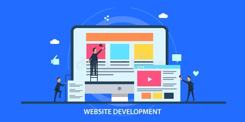 Επίπεδη έννοια σχεδίου της ανάπτυξης ιστοχώρου, βελτιστοποίηση μηχανών αναζήτησης, εφαρμογή Ιστού, εμπειρία πελατών ελεύθερη απεικόνιση δικαιώματος