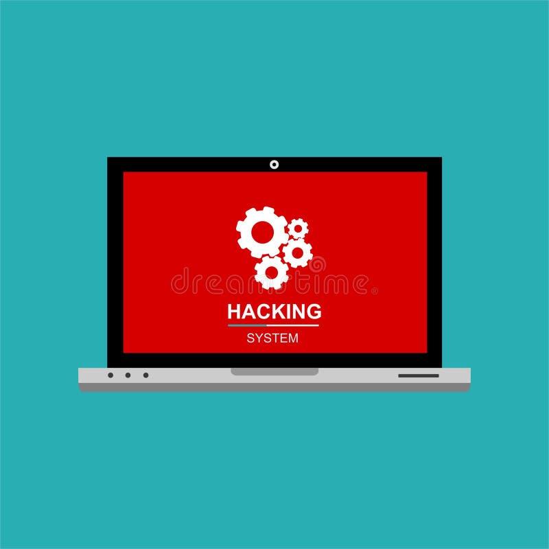 Επίπεδη έννοια τεχνολογικής ασφαλείας υπολογιστών Διαδικτύου χάκερ Υπολογιστής δραστηριότητας χάκερ Άγρυπνη ανακοίνωση στο φορητό απεικόνιση αποθεμάτων