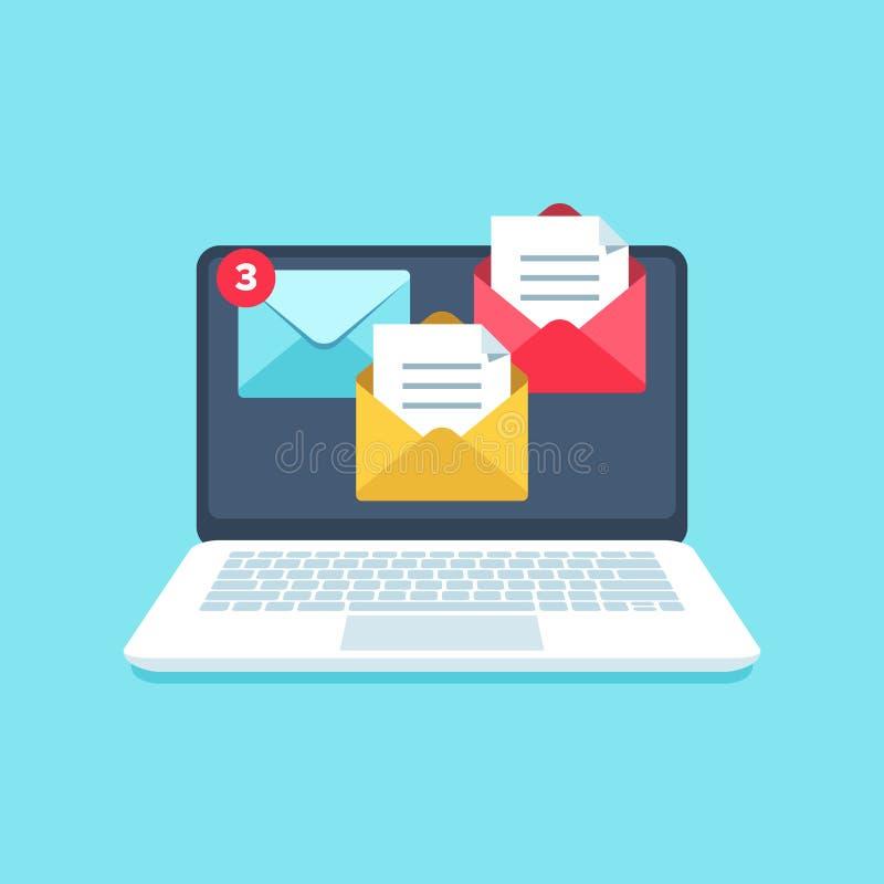 Επίπεδη ανακοίνωση μηνυμάτων ηλεκτρονικού ταχυδρομείου inbox Η οθόνη φορητών προσωπικών υπολογιστών με τις επιστολές επιχειρησιακ απεικόνιση αποθεμάτων