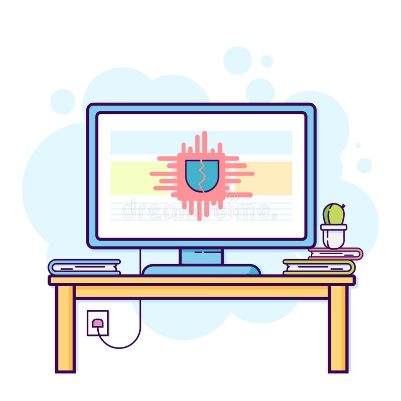 Επίπεδη απεικόνιση γραμμών του υπολογιστή γραφείων με τη ραγισμένη ασφάλεια Σύγχρονη διανυσματική έννοια, ελεύθερη απεικόνιση δικαιώματος