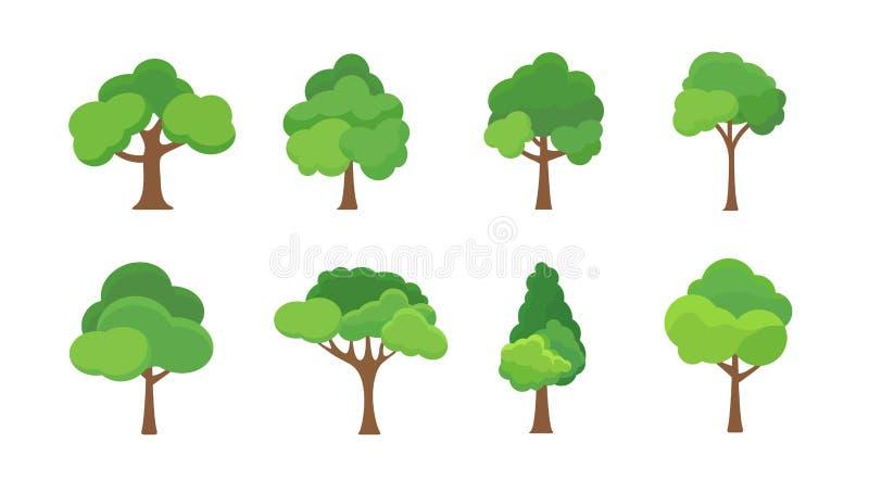 Επίπεδη απεικόνιση εικονιδίων δέντρων Δασικό απλό εικονίδιο σκιαγραφιών εγκαταστάσεων δέντρων Δρύινο οργανικό καθορισμένο σχέδιο  ελεύθερη απεικόνιση δικαιώματος