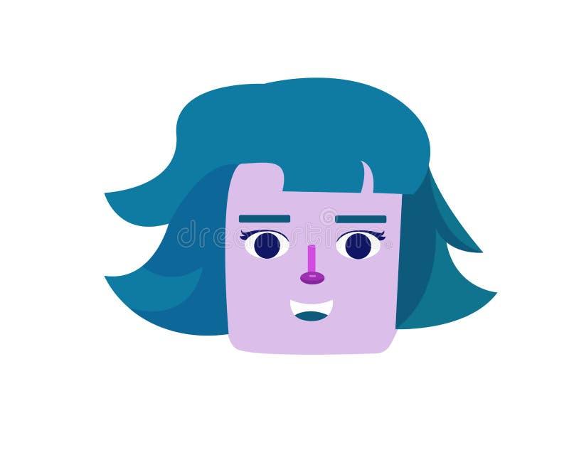 Επίπεδη απεικόνιση μιας γυναίκας σε ένα πορφυρό πρόσωπο απεικόνιση αποθεμάτων