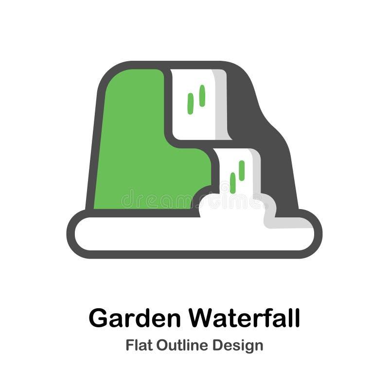 Επίπεδη απεικόνιση περιλήψεων καταρρακτών διακοσμήσεων κήπων διανυσματική απεικόνιση