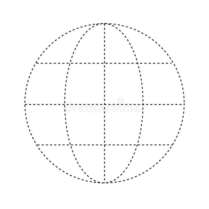 Επίπεδη αυτοκόλλητη ετικέττα επιχειρησιακών σφαιρική κόσμων γραμμών Uncolored άνω της λευκιάς ΤΣΕ διανυσματική απεικόνιση