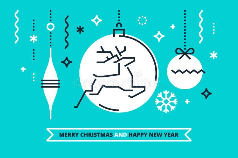 Επίπεδη γραμμική απεικόνιση Χριστουγέννων για τα εμβλήματα, τις ευχετήριες κάρτες και τις προσκλήσεις Χαρούμενα Χριστούγεννα και  ελεύθερη απεικόνιση δικαιώματος