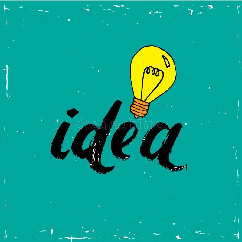 Επίπεδη δημιουργική ιδέα έννοιας επιχειρησιακής απεικόνισης σχεδίου διανυσματική με τη λάμπα φωτός στο μπλε υπόβαθρο ελεύθερη απεικόνιση δικαιώματος