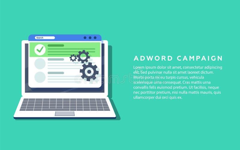 Επίπεδη διανυσματική έννοια για την εκστρατεία Adword, το μάρκετινγκ αναζήτησης, το έμβλημα διαφήμισης της ΔΕΗ με τα εικονίδια κα διανυσματική απεικόνιση