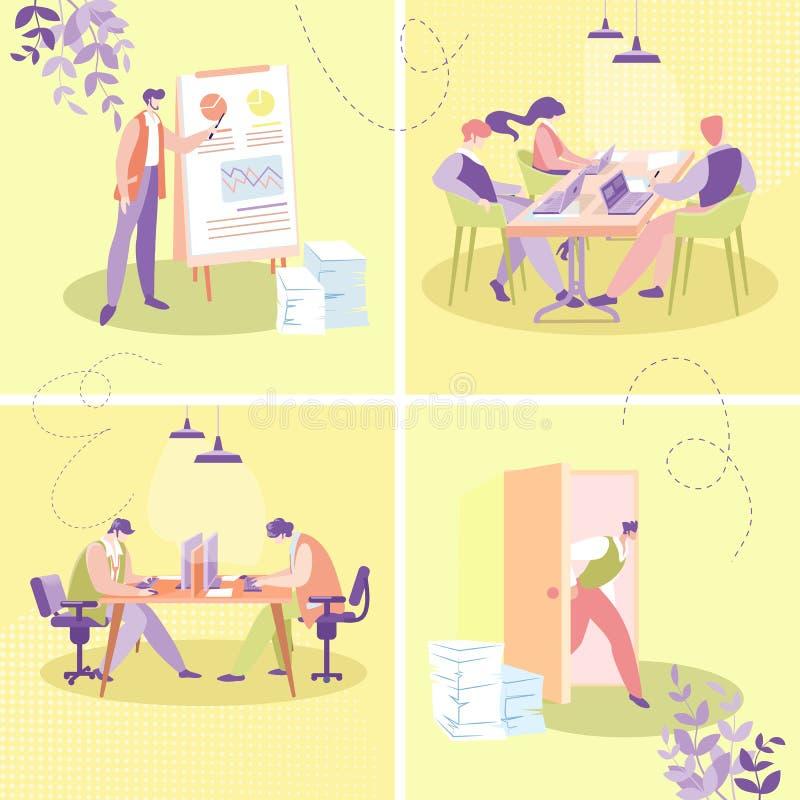 Επίπεδη διανυσματική έννοια εργασίας γραφείων Businesspeople ελεύθερη απεικόνιση δικαιώματος