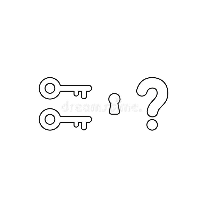 Επίπεδη διανυσματική έννοια ύφους σχεδίου δύο βασικών εικονιδίων με την κλειδαρότρυπα και το ερωτηματικό στο λευκό Μαύρες περιλήψ ελεύθερη απεικόνιση δικαιώματος
