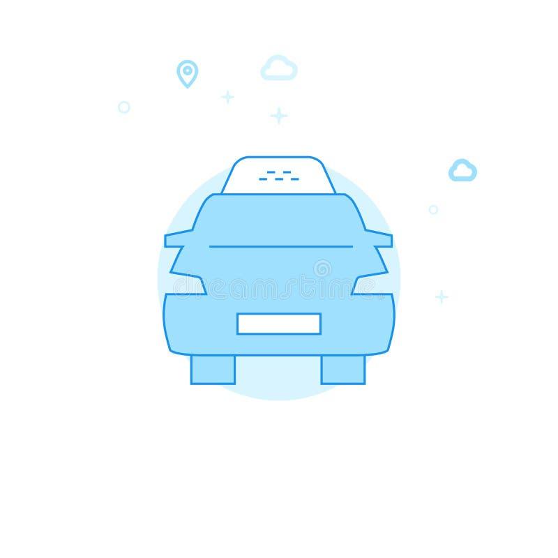 Επίπεδη διανυσματική απεικόνιση αυτοκινήτων ταξί, εικονίδιο Ανοικτό μπλε μονοχρωματικό σχέδιο Κτύπημα Editable ελεύθερη απεικόνιση δικαιώματος