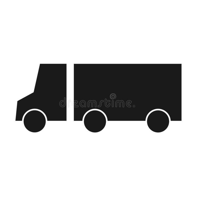 Επίπεδη διανυσματική απεικόνιση εικονιδίων φορτηγών μεταφορών σκιαγραφιών Φορτηγό παράδοσης, έννοια υπηρεσιών, σημάδι Minimalisti απεικόνιση αποθεμάτων