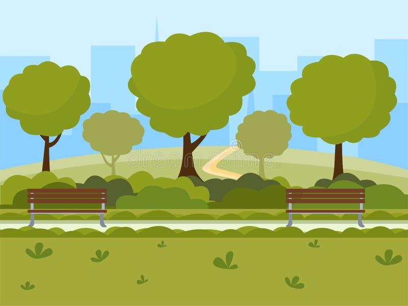 Επίπεδη διανυσματική απεικόνιση πάρκων πόλεων Υπαίθριος ελεύθερος χρόνος στο δημόσιο χώρο φύσης, πράσινα δέντρα, ξύλινοι πάγκοι κ διανυσματική απεικόνιση