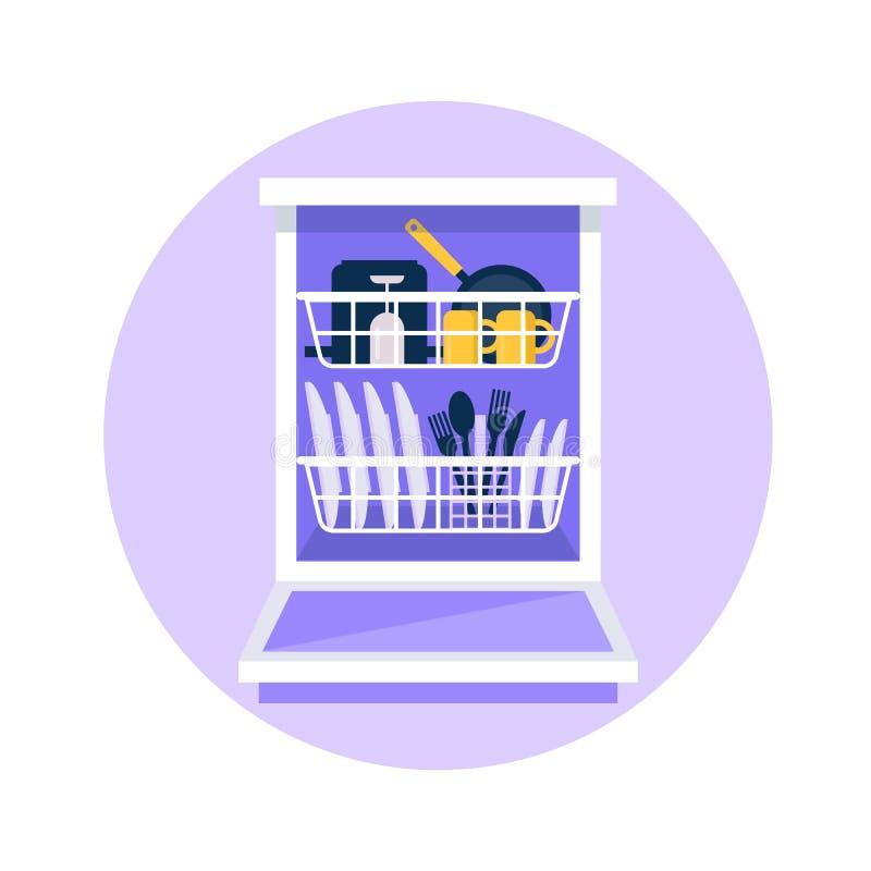Επίπεδη διανυσματική απεικόνιση πλυντηρίων πιάτων Ανοικτή μηχανή πλυντηρίων πιάτων με τα καθαρά πιάτα σε το, πιάτα, μαχαιροπήρουν διανυσματική απεικόνιση