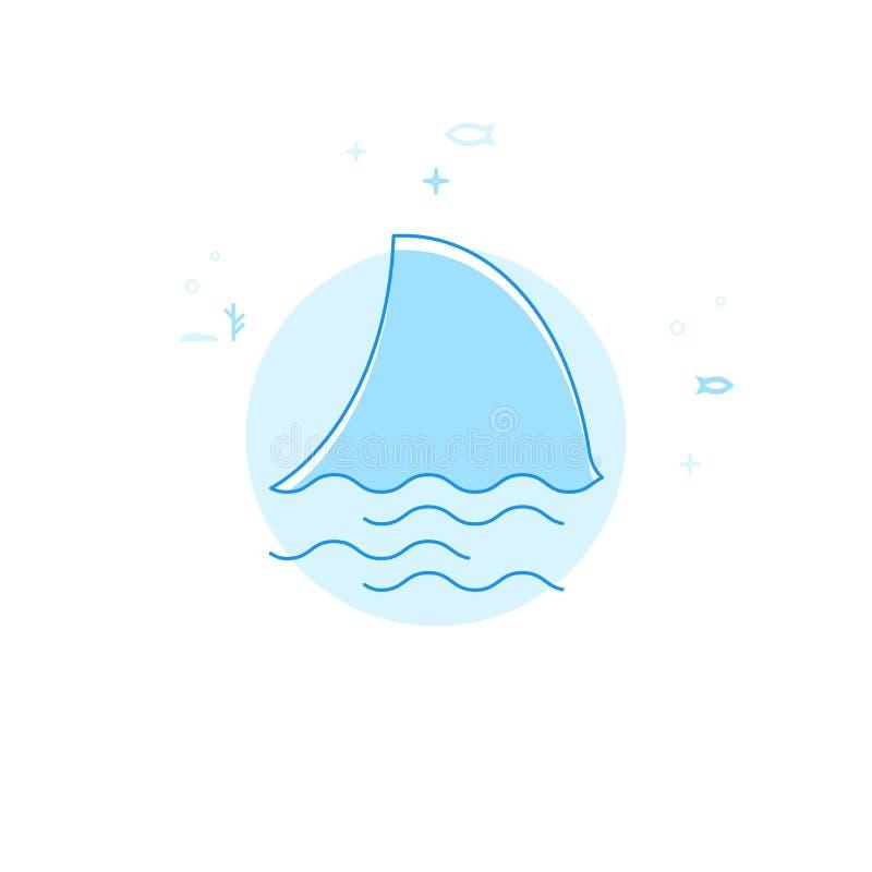 Επίπεδη διανυσματική απεικόνιση πτερυγίων καρχαριών, εικονίδιο Ανοικτό μπλε μονοχρωματικό σχέδιο Κτύπημα Editable ελεύθερη απεικόνιση δικαιώματος