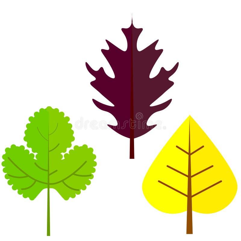 Επίπεδη διανυσματική απεικόνιση: Σκιαγραφίες των φύλλων δέντρων διανυσματική απεικόνιση