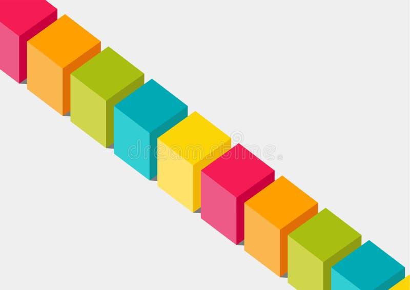Επίπεδη διανυσματική απεικόνιση σχεδίου 3 διαστατικών ζωηρόχρωμων κιβωτίων ή φραγμών Έννοια για το blockchain ή την ποικιλομορφία απεικόνιση αποθεμάτων