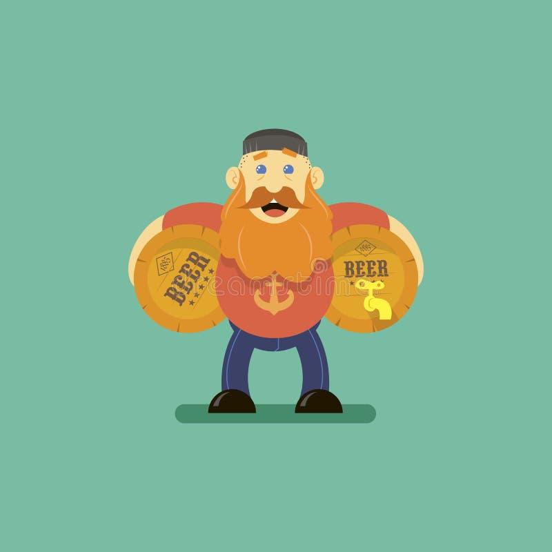 Επίπεδη διανυσματική απεικόνιση τέχνης ενός ατόμου κινούμενων σχεδίων με δύο βαρέλια μπύρας απεικόνιση αποθεμάτων