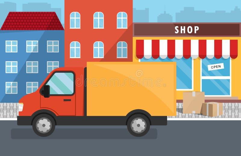 Επίπεδη διανυσματική απεικόνιση της υπηρεσίας παράδοσης για το κατάστημα διανυσματική απεικόνιση