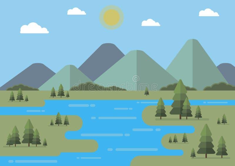 Επίπεδη διανυσματική απεικόνιση τοπίων με τα δέντρα έλατου Επίπεδα βουνά και σύννεφα editable διανυσματική απεικόνιση