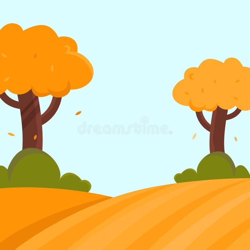 Επίπεδη διανυσματική απεικόνιση τοπίων φθινοπώρου με τα δέντρα και τους Μπους και θέση για το κείμενο απεικόνιση αποθεμάτων