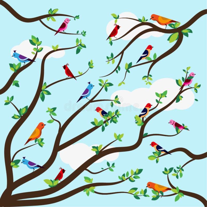 Επίπεδη διανυσματική απεικόνιση των όμορφων πουλιών στους κλάδους στοκ φωτογραφίες με δικαίωμα ελεύθερης χρήσης