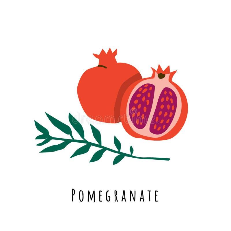 Επίπεδη διανυσματική απεικόνιση φρούτων ροδιών ελεύθερη απεικόνιση δικαιώματος