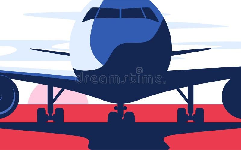 Επίπεδη διανυσματική απεικόνιση ύφους του επιβατηγού αεροσκάφους στον αερολιμένα διανυσματική απεικόνιση